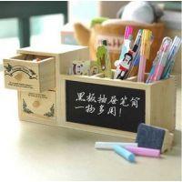 韩国可爱多功能笔筒木制插槽带黑板留言板清新多用储物盒办公用品
