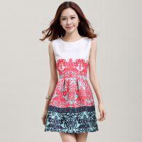 2014秋装新款韩版明星***提花气质复古印花无袖背心打底连衣裙