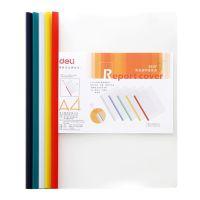 得力5537 A4彩色抽杆文件夹报告夹 5只装A4纸文件夹抽杆夹透明夹