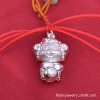 990纯银足银吊坠银项链喜\羊羊男女宝宝满月礼物儿童小孩银锁