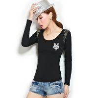 长袖t恤女2014秋装新款打底衫个性短款修身韩版 女t恤