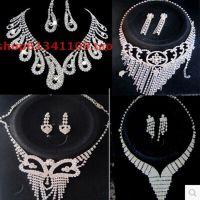 韩国风黑卡***结婚项链耳环两件套装 满钻套链 白 婚庆饰品批发
