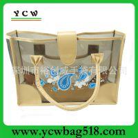 广东深圳手袋厂 直销定做 时尚手提袋 PVC沙滩袋 印花 透明包包