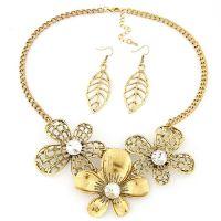 饰品批发欧美时尚金属富贵花朵项链树叶耳环耳钉套装个性首饰时尚
