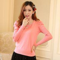 厂家直销 甜美圆领泡泡袖长袖纯色修身针织衫女套头毛衣