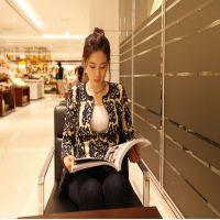 2014秋装高端 韩版新款女装 修身提花 青花瓷针织衫开衫外套
