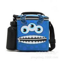外贸原单新品 宝蓝色三只眼怪兽冰包保温包儿童午餐包 带水壶