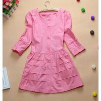 韩版2014新款春装女装圆领中长款裙摆纯色风衣外套