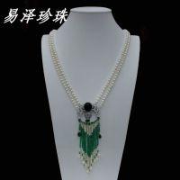【易泽珍珠】5-6MM原创手工天然淡水珍珠项链长款流苏毛衣链绿帘