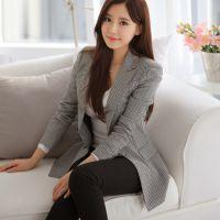 新款韩版千鸟格小西装女外套修身中长款休闲春秋小西服