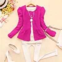 韩版2014新款秋装女装圆领纯色泡泡袖百搭小外套