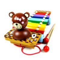 厂家直销 小熊手敲琴 八音琴 拖拉敲琴 钢片琴 木制拖拉玩具