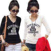 秋季长袖女装恤新款打底衫韩版衣服修身印花白色V领百搭T恤