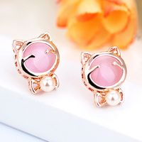 伊泰莲娜 红苹果珍珠 猫眼石 可爱猫星人韩国批发32132700010465