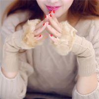 女士手套韩版 可爱加厚半指毛线棉手套女冬季保暖冬款手套 代理