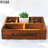 zakka木质收纳盒日式杂货实木创意五格收纳盒工艺品 家居生活用品