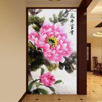 影视背景墙《个性墙纸定制/数码高清3D壁画》水墨高贵牡丹玄关画