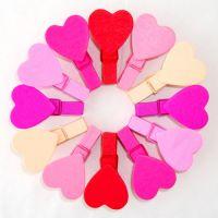 特价!木制彩绘渐变粉色爱心小木夹子(12个一包)韩国饰品