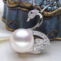 天鹅款馒头圆扁圆925银镶钻气质款天然淡水珍珠吊坠项坠***