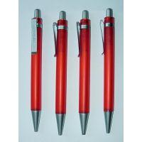 红色笔杆 喷银笔尖 金属笔夹 可定制各种LOGO按动式圆珠笔