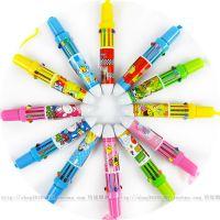 10色挂绳圆珠笔 日韩可爱新款按动 卡通笔儿童奖品彩色笔0.02