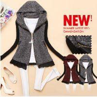 韩版2014新款秋装女装连帽拼接针织袖修身百搭外套