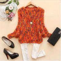 韩版2014新款秋装女装圆领彩色蝙蝠袖短款针织衫