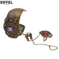 外贸饰品批发 波西米亚复古宫廷女手镯戒指套装 开口宽合金半宝石