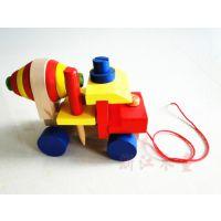 厂家直销 木制儿童多功能拼装螺丝工程车 益智积木早教启蒙玩具车
