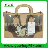 深圳龙岗手袋厂出口 时尚 印花 新款 透明PVC手提袋、沙滩袋