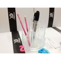 价廉***多功能笔筒办公商务塑料笔座创意时尚底下可旋转笔桶批发