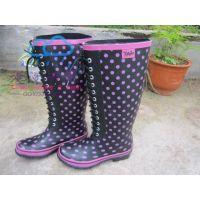 供应新款 高帮系带 女士雨鞋雨靴