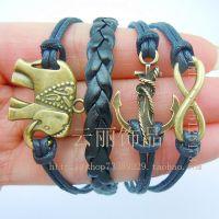 欧美时尚饰品 船锚 大象 浪漫密码手工编制皮革手链