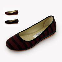 新款老北京布鞋女鞋 条纹针织布套脚浅口柔软舒适休闲居家鞋