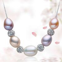 梦幻 时尚9-10mm混彩天然珍珠吊坠 项坠 925银链