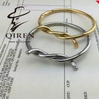韩版饰品钛钢扭圈之环  电镀玫瑰金手镯手环批发