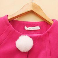 韩版2014新款秋装女装圆领毛球修身显瘦毛呢外套