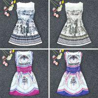 欧美大牌夏装新提花复古数码印花显瘦无袖背心连衣裙打底裙子