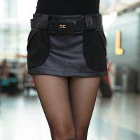 2014新款韩版加厚雪纺PU拼接短裤裙热 裤靴裤短裙女款 J530