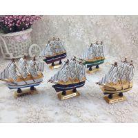 小号地中海摆件纯手工帆船模型 创意帆船摆件 木制工艺品批发10cm