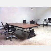 可定做美式乡村实木铁艺办公桌餐桌会议桌做旧书桌铁艺实木办公桌