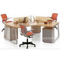 广东厂家直销职员办公桌椅组合 简约职员卡座4人屏风工作位 钢架职员电脑桌