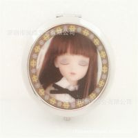 70MM圆形折叠化妆镜厂家 金属铬色3D效果小镜子批发 双面便携