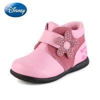 迪士尼童鞋 2014冬季新款女童棉鞋黑色皮鞋 真皮加绒加厚保暖防水