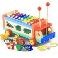 木制动物敲琴可拖拉车 八音琴儿童早教益智 形状配对玩具