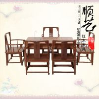 红木家具鸡翅木电磁炉茶桌六件套功夫茶台矮南冠实木仿明清泡茶台