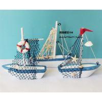 热卖 地中海风格形蓝白帆船模型实木手工一帆风顺摆件装饰