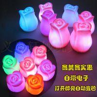 百合小夜灯 七彩变色花蕾情人节发光玫瑰花七夕仿真花瓣花束15021
