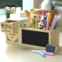 韩版双抽屉木质笔筒 多功能桌面双层 带黑板 粉笔 木制铅笔盒