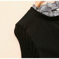 韩版2014新款秋装女装立领拼接针织印花上衣衬衫